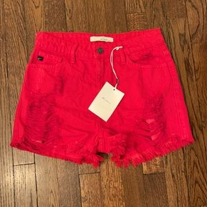 KanCan Distressed High Waist RED Denim Jean Shorts